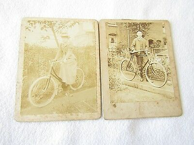 Birmingham Collection of 2 CDV Cabinet Photos Beautiful Lady & Gent on Bicycles