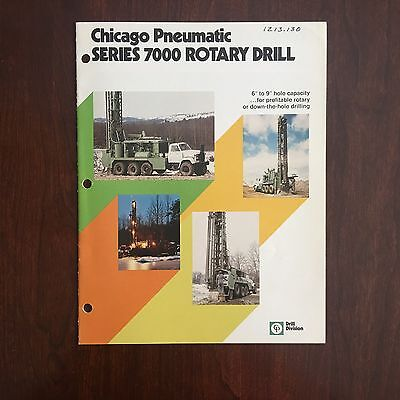CHICAGO PNEUMATIC 7000 Rotary Blasthole Drill - Vintage Brochure Specs 1970s