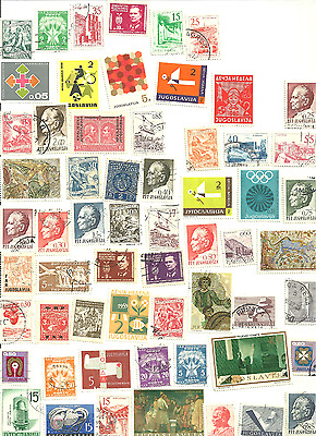 70 mostly Different  Postage Stamps from Yugoslavia