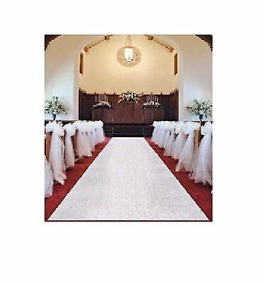 50-Feet White Wedding Isle Runner Poly Linen Material Elegant Church Isle Accent