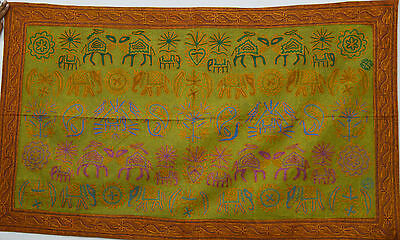 Vintage Elephant Embroidery Cotton Wall Hanging Home Decor Tapestry Throw