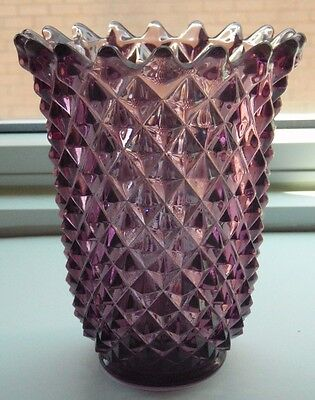 Imperial Glass Vase, Purple amethyst Diamond Pattern Saw Tooth Rim, Signed