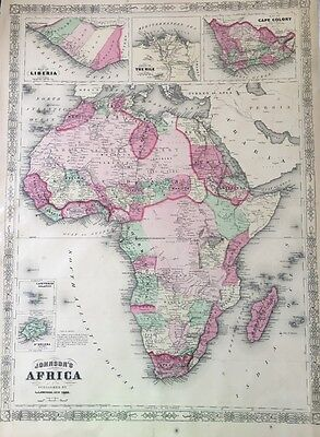 ORIGINAL 1866 A.J. JOHNSON'S HAND COLORED VINTAGE MAP, AFRICA (18 x 26)