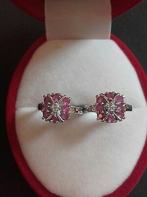 9k white gold natural ruby and topaz earrings stunningly beautiful!