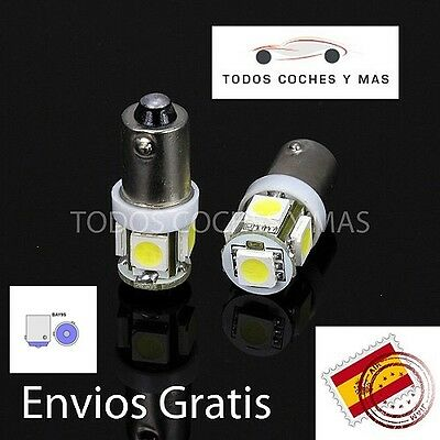 2 X Light Bulbs Led Car Bay9S 5 Smd 5050 H21W Pins In Angle White