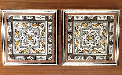 """TWO Antique Mintons China Works Stoke on Trent Brown/Yellow Tile 6"""""""