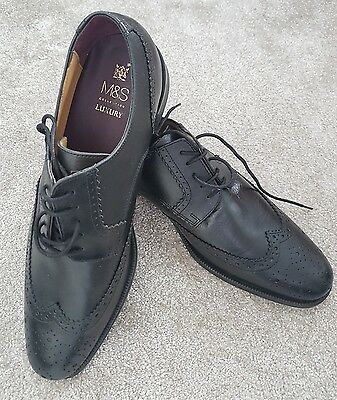 M&S Marks and Spencer Mens Black Leather Brogues Shoes Lace Up sz 10 RRP £59