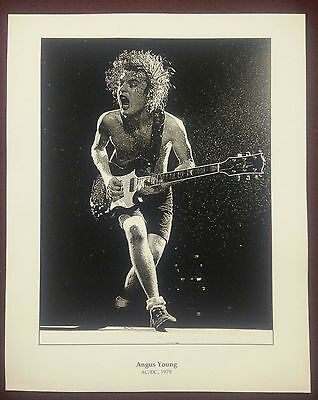 Angus Young AC/DC 1979 Limited Edition 8x10 B & W Artist Numbered Signed Print