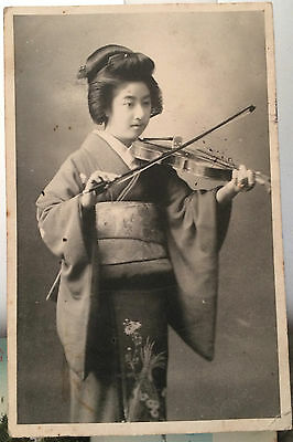 GEISHA Woman plays VIOLIN, JAPAN Photo Gravure? Post Card 1909