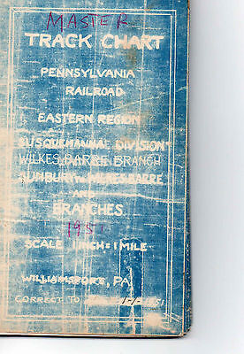 Pennsylvania RR PRR Track Chart Sunbury to Wilkes-Barre & Branches 1951