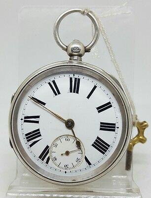Big chunky antique solid silver gents Chester pocket watch 1899 working order