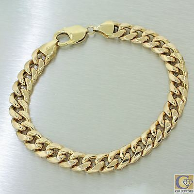 "Men's 14k Solid Yellow Gold Miami Cuban Curb Chain Link Bracelet 9"" 9mm 21.9g IT"