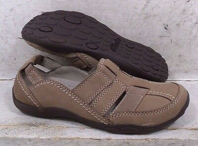 NEW Clarks Womens Haley Stork Mushroom Leather Flats Shoes 06923 size mm 5 M*