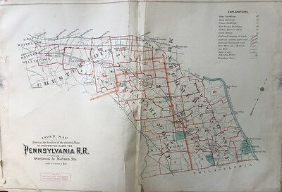 Orig 1900 Pennsylvania R.r., Overbrook To Malverne, Index Page, Plat Atlas Map