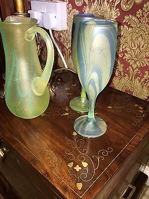 Green And Blue Glass Jug And Glasses
