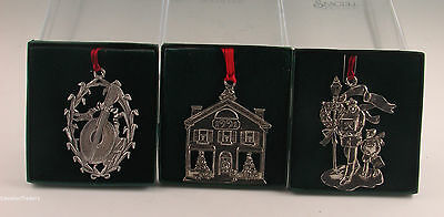 Seagull Pewter Lot Of 3 Christmas Ornaments - Original Box