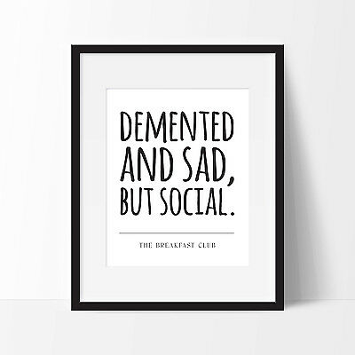 The Breakfast Club Poster. Movie Quote. Typography Print. FREE DELIVERY