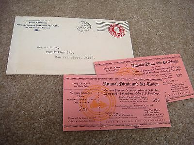 Vintage tickets / envelope for  Annual Picnic and Re-Union of the SF Fire dept