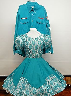 2 Pc Teal And Lace Square Dance Dress And Shirt