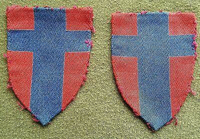 Pre Owned. Original WW2 Matching Pair Of 21st Army Group Cloth Formation Signs.