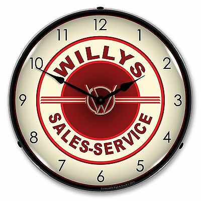 Willys Sales and Service Lighted Wall Clock