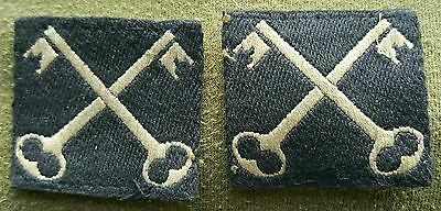Original WW2 Matching Pair Of 2nd Infantry Division Cloth Formation Signs.