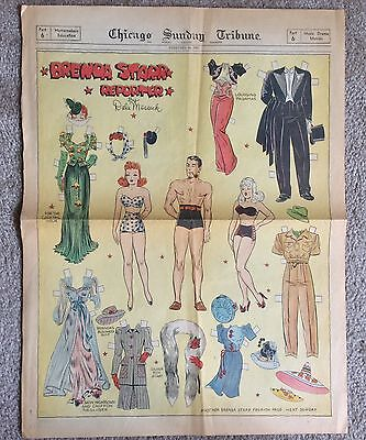 Full Page BRENDA STARR Old Sunday Funnies Paper Dolls, 2/16 1941 Newspaper Piece