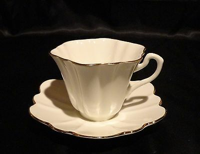Vintage Rosina England White with Gold Rim Scalloped Teacup and Saucer