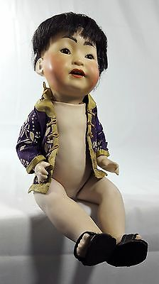 "Rare Antique German J D Kestner 243 12"" Bisque Asian Baby Doll Excellent"