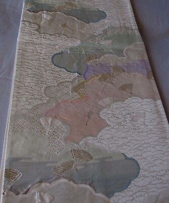 "Vtg Tiny Fans w/Clouds Delicate Pattern OBI Silk Fabric Japan 34"" ~ NR 1F743"