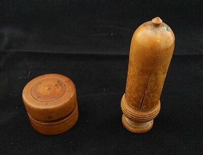 TREEN: VICTORIAN CARVED WOODEN NEEDLE CASE (ACORN SHAPE) and PILL BOX