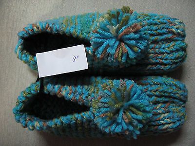 New Amish Handmade Knit House Slippers Turquoise Mix Womans Sm Mans XX Sm 8""