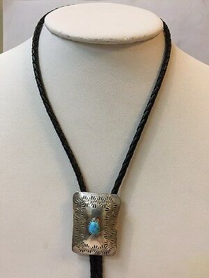 Vintage Sterling Silver Native American Bolo Tie With Leather Cord & Ster Tips
