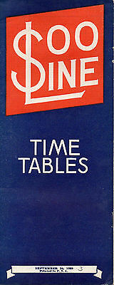 SOO Line Public Timetable September 24 1939