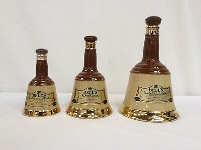 3 Wade Bells Old Scotch Whiskey Decanters