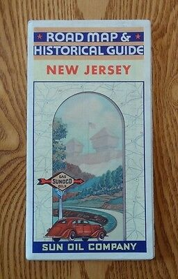 A Collectible 1935 SUNOCO road map of New Jersey with Historical Guide