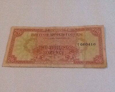 Rare 1st Series British Armed Forces Two Shillings Sixpence Note D/3 1946