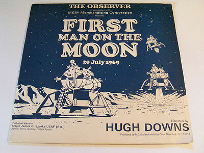 """HUGH DOWNS First Man On The Moon Ex+ MGM '69 UK Spoken Word P/S 7"""""""