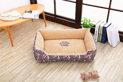 Large Brown British Style Oxford Soft Dog Kennel Pet Bed Puppy Cushion 100*80cm