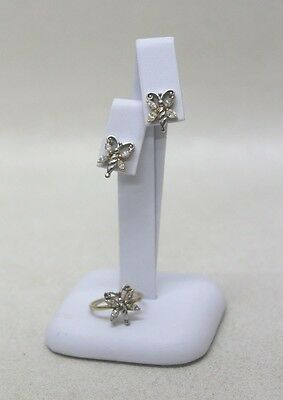18carat yellow and white gold earring and ring diamonds set
