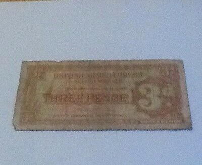 Rare 2nd Series British Armed Forces Threepence  3d  Note 1950's