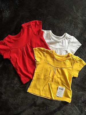 BNWT 3 x Girls Mothercare Short Sleeved T-Shirt Tops Age 3-6 Months