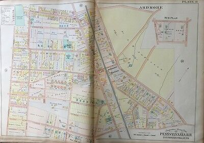 Orig 1900 Montgomery County, Pa, Ardmore Public School & Station, Plat Atlas Map
