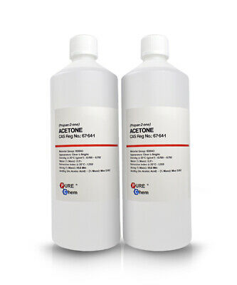 2 x 1L Bottles Pure Acetone - Acrylic Nail Remover Nail Polish Remover 99.8%