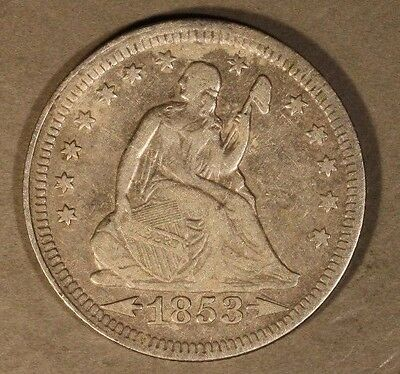 1853 Seated Liberty Quarter Silver with Rays & Arrows  ** FREE U.S SHIPPING **