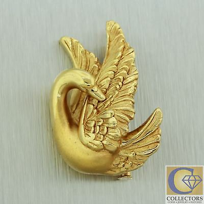Vintage Charles Garnier 18k Yellow Gold Detailed Hand Finished Swan Brooch Pin