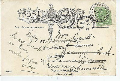 1911 Stromness Orkney Cancel & Card