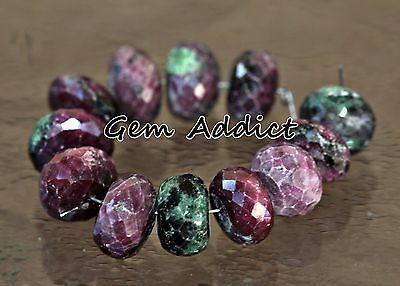 "Natural Ruby Zoisite Faceted Rondelles 12mm 3.25"" St. 12 Beads 21g/105cts"