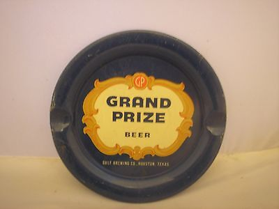 Vintage Grand Prize Beer Metal Ash Tray, Gulf Brewing Co., Houston, Tx