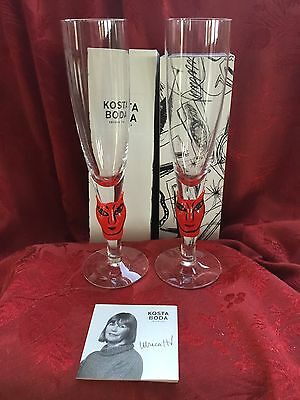 NIB FLAWLESS Exquisite KOSTA BODA 2 Crystal OPEN MINDS Champagne GLASSES FLUTES